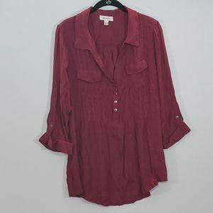 Dressbarn red  v-neck collared long sleeve blouse